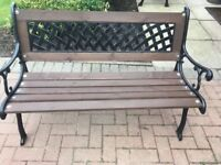 Cast Iron Garden bench with cast iron back 4ft long