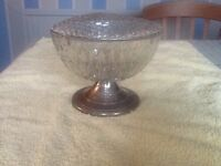 Cut Glass rose bowl wih metal foot