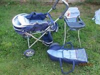 blue playtime dolls pram .high chair and carry cot with bear on it loads of wear left