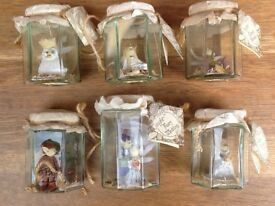 6x vintage bottled fairies, 'Freshly Caught Fairy Folk'