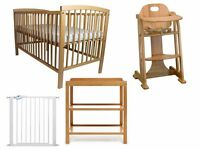 Baby Nursery Furniture Set inc Wooden High Chair, Cot Bed, Changing Unit and Stair Gate Used