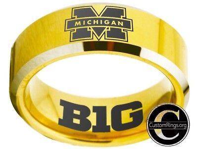 Michigan Wolverines Ring Mens Ring Logo Gold Wedding Band Sz 4 - 17  #michigan ()