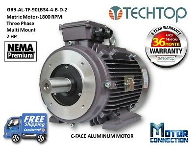2 Hp Electric Motor Metric 1800 Rpm 3-phase C-face Aluminum