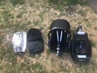 maxi cosi cabriofix car seat, rain cover, cossy feet easy fix isofix base group 0 black (4 pieces)