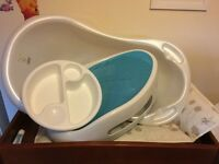 Baby bath, top and tail bowl and angelcare seat