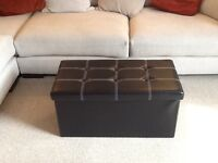 Brand new still in wrapper Black Leather Sofa Storage Foldable Ottoman