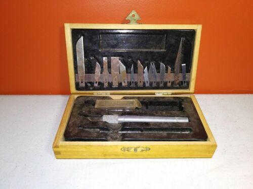 Vintage X-Acto Knife Set in Wooden Case