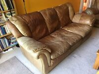 Large Tan Leather Sofa. Very comfy.