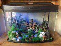 Aquarium/ fish tank/ box 90 litres - ornaments, sand