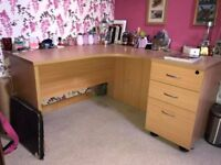 2 Office Desks & 2 x Drawer Units