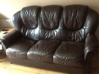 Brown leather 3 piece suite plus two reclining chairs
