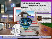 Interior and exterior design in public spaces and personalized homes .