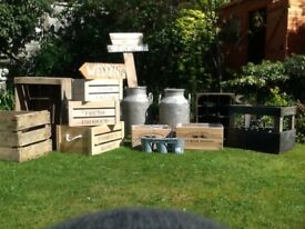 Wedding decorations, Apple boxes, milk churns, market boxes.