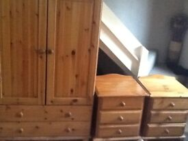 Small Wardrobe, 2 Bedside Cabinets and Chest of Draws