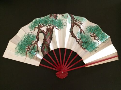 Gold Pine Trees Vtg Japanese Kimono Odori Dance Hand Held SENSU Folding Fan #03