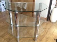 """A CHROME & GLASS 3 SHELF TV STAND - IT HELD A 32"""" TELEVISION ( GOOD CONDITION )"""