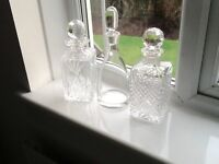 Crystal decanters, set of 3, brand new condition
