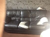3 seater real leather couch black dfs
