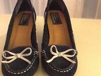 Bertie ladies heeled deck shoes size 6.5