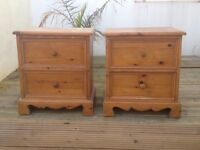 2 x SOLID PINE BEDSIDE DRAWERS - GOOD CONDITION