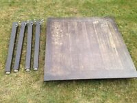 Habitat Ruskin table 4 seater. 2 storage Drawers. Dark stained, solid wood. Requires some TLC