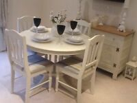Lovely extending dining table & 4 Chairs with unusual pedestal finished in Farrow & Ball