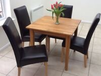 Oak square Dining Table & 4 faux leather chairs