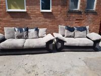 Really nice FEW DAYS OLD black and grey cord sofa suite ,3 and 2 ,can deliver