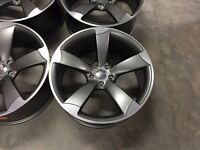 """4BOXED NEW 18"""" AUDI TTRS ROTOR STYLE ALLOYS WHEELS TT RS S LINE A3 A4 S3 S4 A5 A6 ALL ROAD SEAT GOLF"""