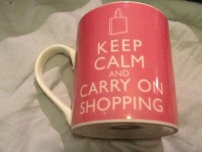 Keep Calm and Carry On Shopping Coffee Mug Cup PINK 12 oz. Kent