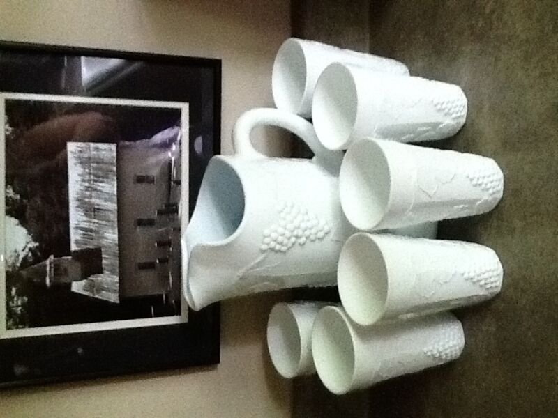 Milk Glass Pitcher and Glasses