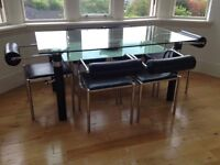 Solid Glass Dining Table And Chairs With Matching Coffee Table