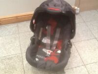 First size Graco baby car seat with hood &swing-over carry handle £15,Graco base is £10
