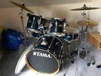 Drum Kit - TAMA ROCKSTAR + Paiste 302 Symbols + Stool + Extra Kick Skin (white)