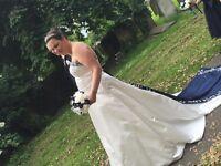 Alfred Angelo ivory & navy blue satin wedding dress uk 18