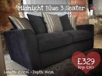 NEW Midnight Blue 3 Seater Sofa, Can Deliver