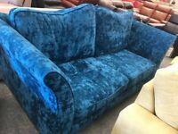 Blue 3 seater fabric sofa