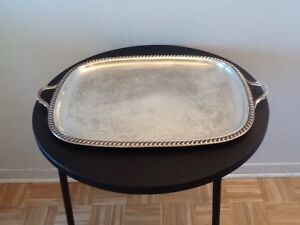 Gorgeous Large Silver Plated Serving Platter With Handles