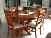 Extendable solid timber dining table with 6 chairs Mooloolaba Maroochydore Area Preview