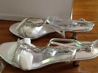 For sale, silver, diamanté sandals, sling back, kitten heel.
