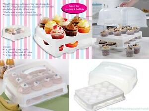 2 TIER 24 CUPCAKE CARRIER HOLDER MUFFINS CADDY STACKABLE CAKE STORAGE PARTY BOX
