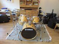 "Yamaha Stage Custom 22"" Shells and Hardware, Sabian XS20 Cymblas: Ride, 2 thin crashes, Hats, extras"