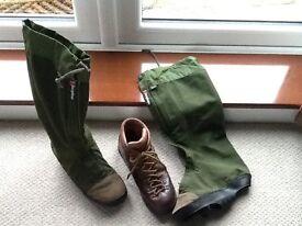 Scarpa boots and Berghaus Yeti gators size eu 43 UK 8.5