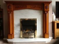 Marble fire place with wood surround. Smoke and pet free home.