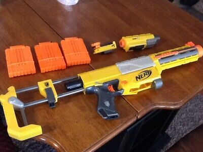 NERF yellow N Strike longshot recon cs-6  2 scopes 3 cartridges FREE SHIPPING