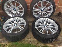 "Genuine BMW 18"" MV3 Staggered Alloy Wheels With Tyres - E90/E91/E92/E93"