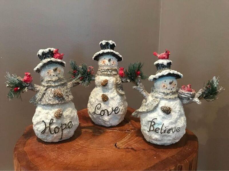 Set of 3 Inspirational Snowmen by Valerie