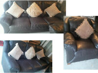 PLEASE RING OR TEXT FIRST PLEASE Scs lovely and comfy 3 seater and matching chair Brown leather