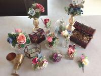 Wedding bits, centre pieces, vases, flower arrangements, treasure chests, goblets, candle sticks