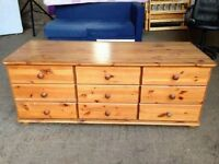 Solid Pine 9 Drawers Chest of Drawers